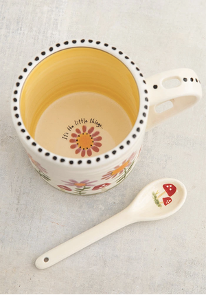 Natural Life - Hazel Mug & Spoon Set - Pink Flower