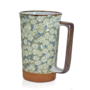 Japanese Tall Mug - White Daisies - Red Sparrow Tea Company