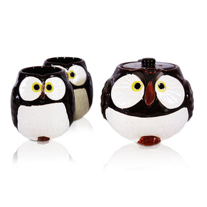Lucky Owl Chocolate Brown - Teapot & 2 Cup Set
