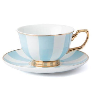Cristina Re - Teacup & Saucer - Blue Stripes - Red Sparrow Tea Company