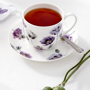Ashdene - Purple Poppies AWM - Cup & Saucer - Red Sparrow Tea Company