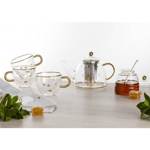 Ashdene - Honey Bee - Glass Teapot - Red Sparrow Tea Company