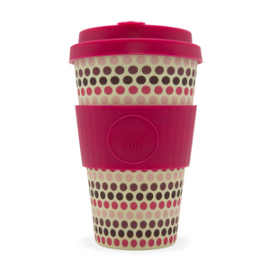 Eco Cup 14oz Pink Polka - Red Sparrow Tea Company