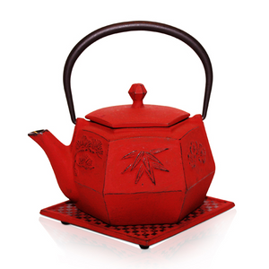Cast Iron Teapot - Anshun Red - Red Sparrow Tea Company