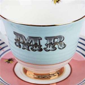 Yvonne Ellen - 'MR' Teacup & Saucer - Red Sparrow Tea Company