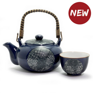 Japanese - Blue Quilt Tea Set - Red Sparrow Tea Company