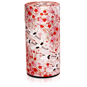 Japanese Tea Canister - Flying Crane Pink