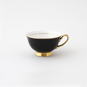 Black Teacup & Saucer - 250ml - Red Sparrow Tea Company