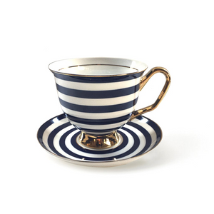 Navy Blue Stripes Teacup & Saucer XL - 375ml - Red Sparrow Tea Company
