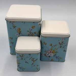 Blue Floral Tins - Set of 3 - Red Sparrow Tea Company