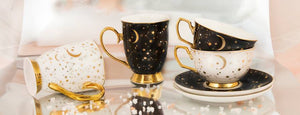 Cristina Re - Teacup & Saucer - 'It's written in the stars' - Ebony - Red Sparrow Tea Company