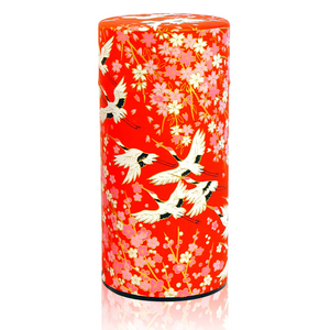 Japanese Tea Canister - Flying Crane Red