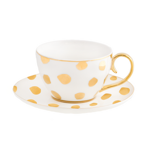 Cristina Re - Teacup & Saucer - Polka D'Or Ivory - Red Sparrow Tea Company