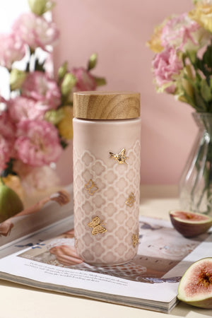 Liven Tourmaline Tumbler - Butterfly - Rose Pink & Gold
