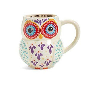 Folk Mug - Owl - Don't Forget To Be Awesome - Red Sparrow Tea Company
