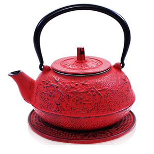 Cast Iron Teapot - Sakura - Red - Red Sparrow Tea Company