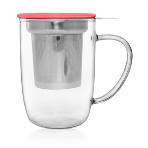 Glass Infuser Mug - Red - Red Sparrow Tea Company