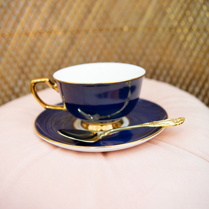 Cristina Re - Teacup & Saucer - Navy - Red Sparrow Tea Company
