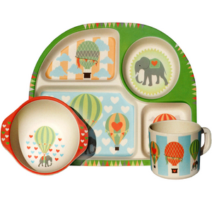 Bim Bam Boo - Kids Dinning Set - Hot Air Balloons - Red Sparrow Tea Company