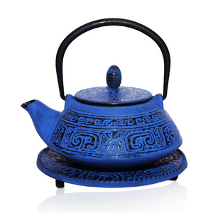 Cast Iron Teapot - Tianshui Blue - Red Sparrow Tea Company