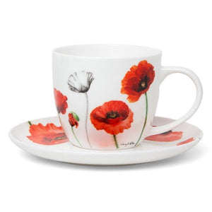 Ashdene - Poppies - Cup & Saucer - Red Sparrow Tea Company