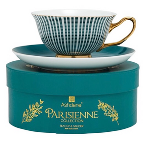 Teacup and Saucer - Parisienne - Midnight Green - Red Sparrow Tea Company
