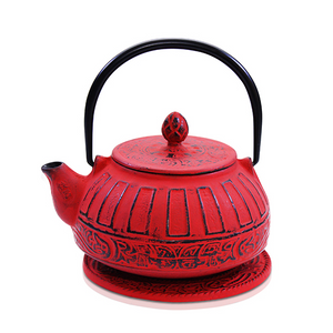 Cast Iron Teapot - Reflection Red