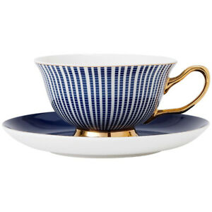 Teacup and Saucer - Parisienne - Navy - Red Sparrow Tea Company