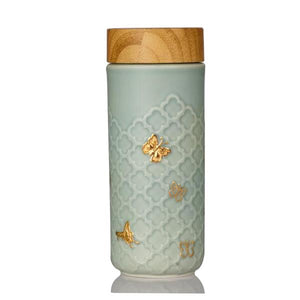 Liven Tourmaline Tumbler - Butterfly - Mint Green & Gold