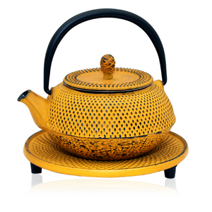 Cast Iron Teapot - Moto Yellow - Red Sparrow Tea Company