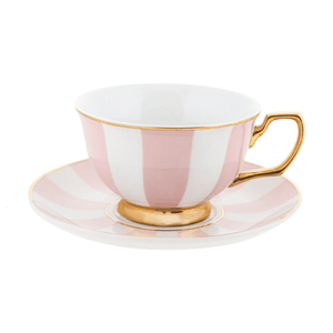 Teacup and Saucer - Blush Stripes - Red Sparrow Tea Company