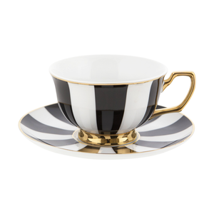 Cristina Re - Teacup & Saucer - Ebony Stripes - Red Sparrow Tea Company