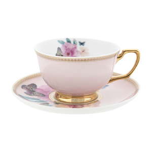 Teacup and Saucer - Butterfly Garden - Red Sparrow Tea Company