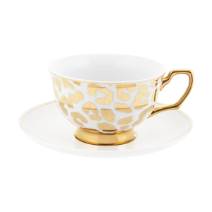 Teacup and Saucer - Leopard Gold - Red Sparrow Tea Company