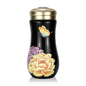 Liven Tourmaline Tumbler - Yellow Peony - Black - Red Sparrow Tea Company