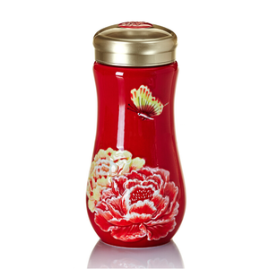 Liven Tourmaline Tumbler - Peony - Red - Red Sparrow Tea Company
