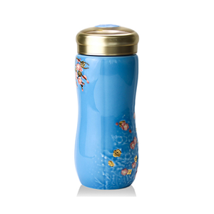 Liven Tourmaline Tumbler - Plum Blossom - Blue - Red Sparrow Tea Company