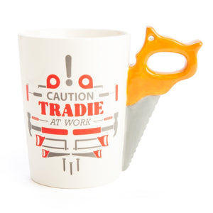 Tradie Mug - Caution Tradie At Work - Saw