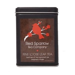 red sparrow tea tin