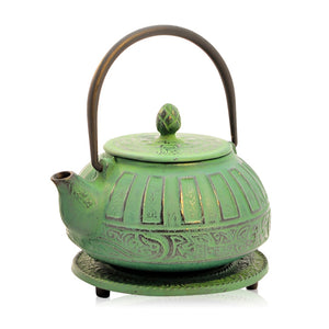 Cast Iron Teapot - Reflection Green - Red Sparrow Tea Company