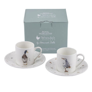 Royal Worcester - Wrendale - Demitasse Cups & Saucers Set of 2