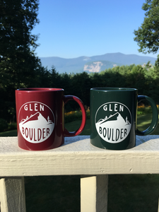 Glen Boulder Classic Mugs Shown Together with mountain landscape in the back by Glen Boulder