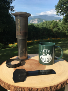 Glen Boulder Classic Mug on Green Ceramic Mug with scenic mountain view by Glen Boulder