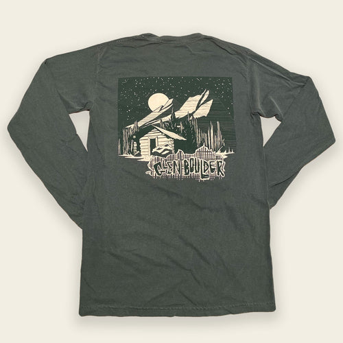 Moonlit Cabin Tee Long Sleeve on Spruce Green Comfort Colors Shirt Back Design by Glen Boulder