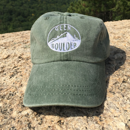 Glen Boulder Original Hat on Forest Green Adams Hat Front Design by Glen Boulder