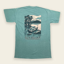 Load image into Gallery viewer, Weekend Retreat Tee on Lakeside Blue Comfort Colors Shirt Back Design by Glen Boulder