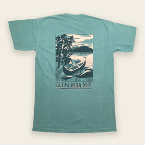Weekend Retreat Tee on Lakeside Blue Comfort Colors Shirt Back Design by Glen Boulder