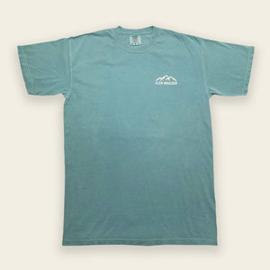 Weekend Retreat Tee on Lakeside Blue Comfort Colors Shirt Front Design by Glen Boulder