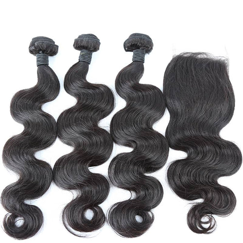 3 Body Wave Bundles + 4x4 Closure
