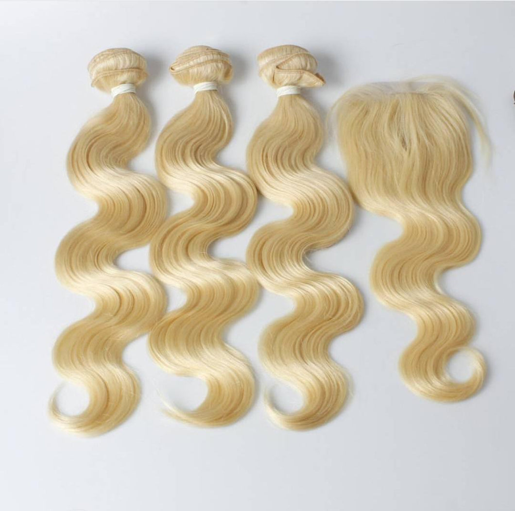 3 Blonde Body Wave Bundles + 4x4 Closure